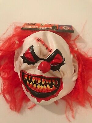 Brand New Totally Ghoul Carver Clown Midnight Carnival Mask with Hair](Carver Mask)