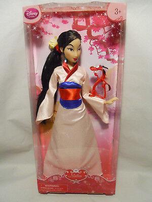 "Disney Store Classic Princess Mulan Doll With Mushu 12"" New in Box"