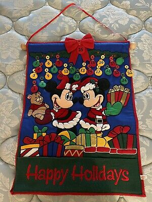 DISNEY STORE MICKEY & MINNIE MOUSE HAPPY HOLIDAYS CHRISTMAS ADVENT CALENDAR EUC!