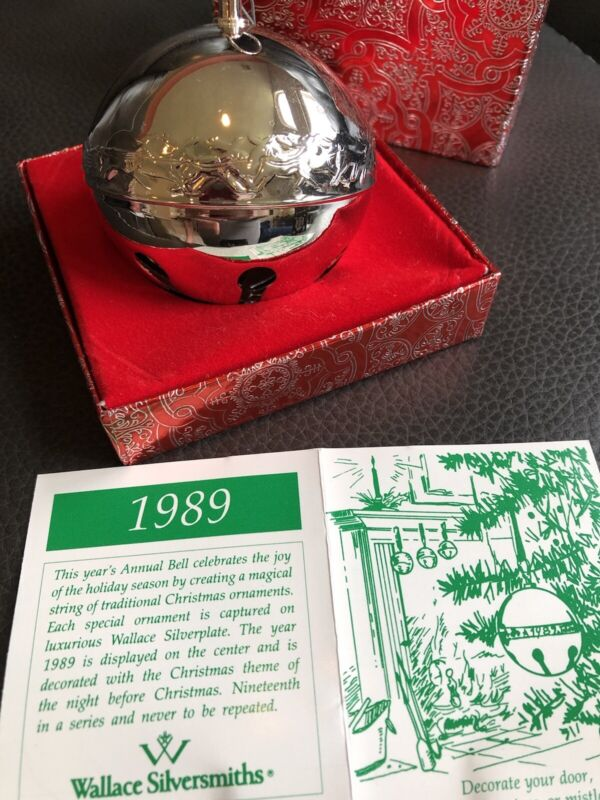 Wallace Annual Silver Plate Sleigh Bell Ornament 1989 In Box Free S/H
