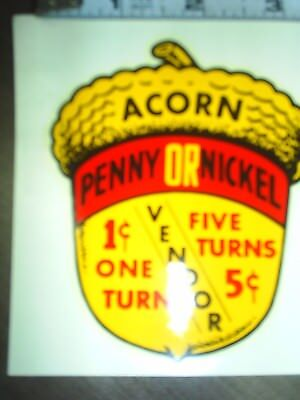 Oak Acorn 1/5 cent penny & Nickel  water release decal stock #1 hard to find OEM