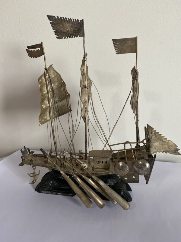 Antique Chinese Silver Junk Boat Ship with Valuation late 19th Century