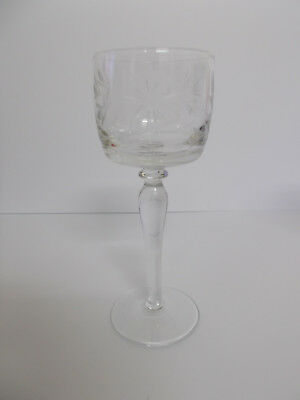 Hock Glass Wine Glass Etched Bowl Design Vintage Style Lovely Hock Wine Glass