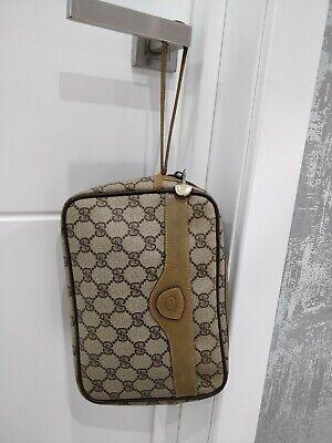 Gucci Vintage GG Monogram Supreme Wristlet Leather Coated Canvas Clutch Bag