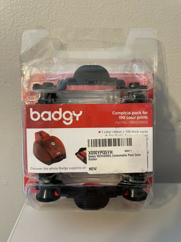 Badgy Color Ribbon & 100 Cards VBDG205EU for Badgy First Generation *Damaged box
