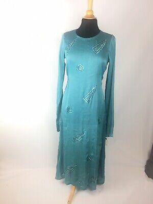 Turqoise Wedding Abaya Maxi Dress Caftan Long Sleeve Embroidered Sequin Fancy