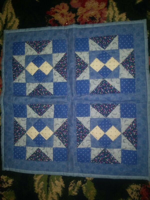 Small blue and white doll size country cottage Americana quilt