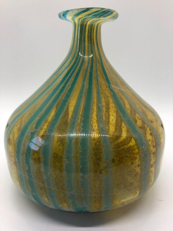 VTG Mdina Art Glass Signed Vase Bottle Modern Style Green And Aqua Vintage