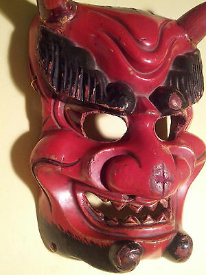 Antique, DANCED, Japan/Japanese Wooden  Ao-Oni Mask used in annual Setsubun