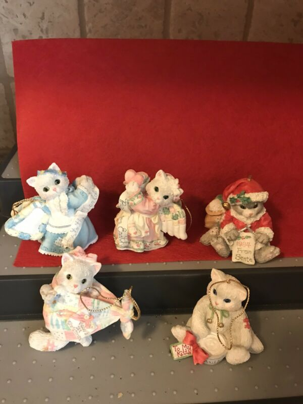 Set/Lot of 5 Calico Kittens Christmes Ornaments by Enesco