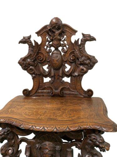 Top Notch Antique French Renaissance Scabello Chair, Bench, Gargoyles, Dragons,