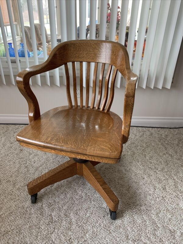 Tiger Oak Bankers Rolling Chair