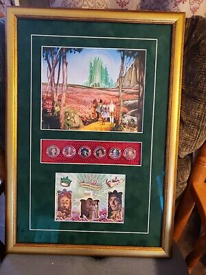 Six Frame Display - Framed Breygent Wizard Of Oz prop Card Displays with 6 SIX 24kt Gold Kansas...
