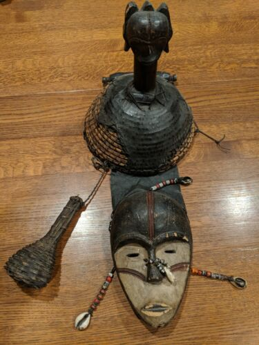 Fang Gabon Helmet Mask with Shells and Beads — Authentic Carved African Wood Art