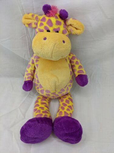 "Animal Alley Yellow Purple Giraffe Plush 13"" 2007 Stuffed Animal Toy"