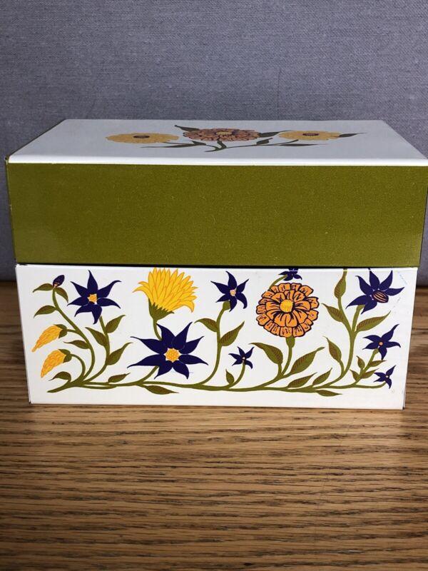 Vintage SYNDICATE MFG CO Recipe Box Zinnias Flowers Metal