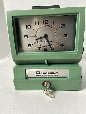 Works Vintage Acroprint 125nr4 Time Recorder Manual Punch Card Clock Wkey