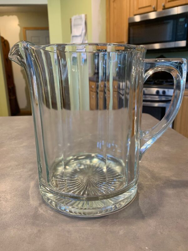 "EAPG Heisey Glass 10 Panel Pitcher Water Milk Beer 7 3/8"""