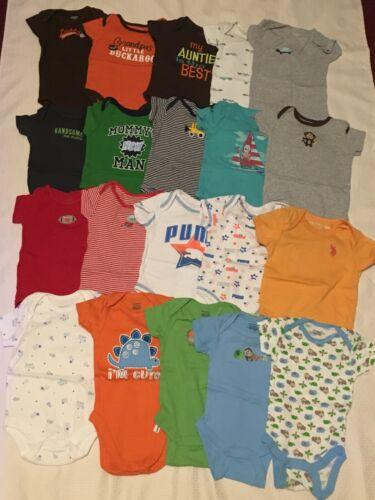 Lot of 20 Pc. Baby Boy 0-3 M & 3 M Short Sleeve Bodysuits Multi-Color Clothes