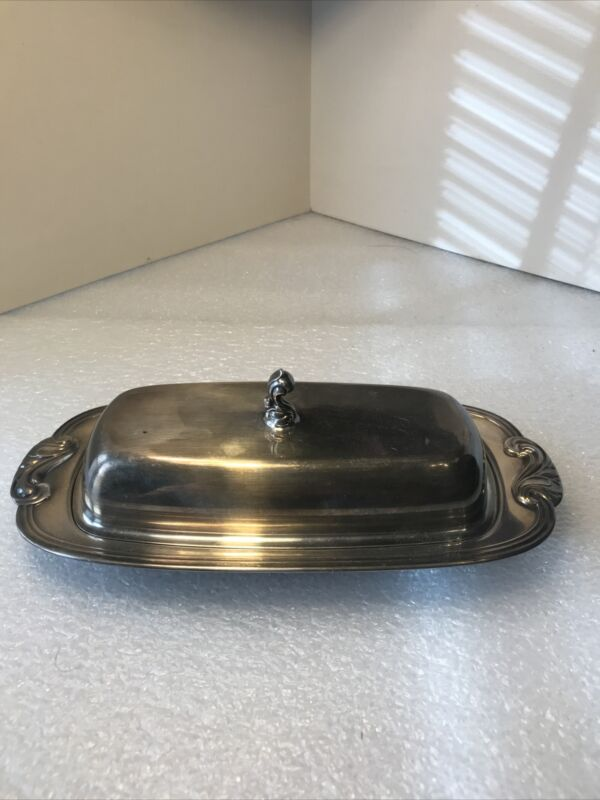 Vintage WM. A. Rogers Butter Dish with Lid and Glass Tray 3 Piece Silver Plated