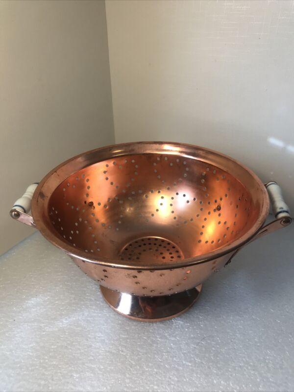 Copper Colander  Porcelain Handles Heart Shaped Holes