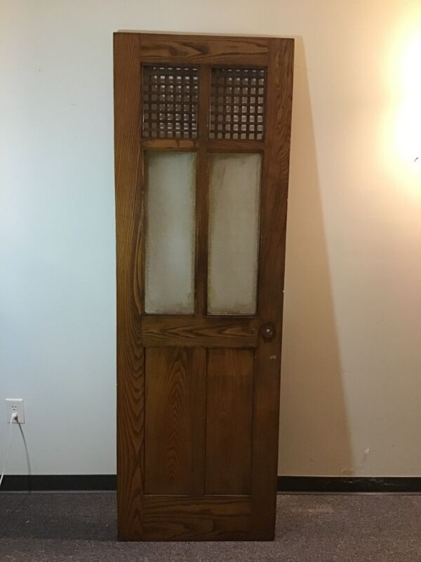 1 Of 6 Antique Oak Open Lattice Glass Pantry Door Salvage Farmhouse Church