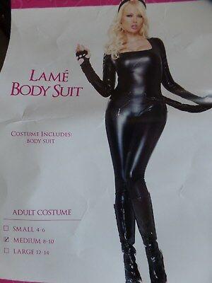 Spirit Halloween Cat (Spirit Halloween Womens M 8-10 Lame Body Suit Latex Rubber PVC Cat Suit Black)