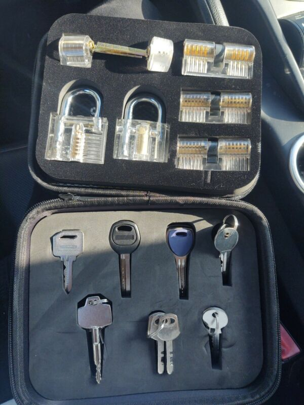 New 7Pcs Padlock Lock Set Transparent Practice Training Padlock W/ Key Removing