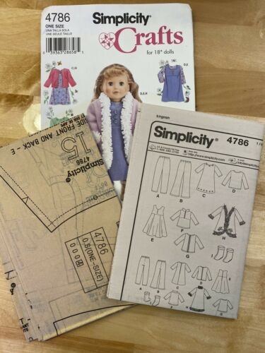 Simplicity 4786 American Girl Doll Size 18 Clothes Dress Coat Pant Boot Uncut - $6.99