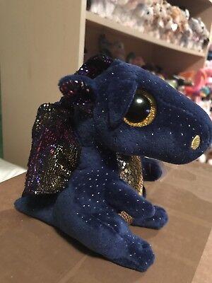 Ty Saffire  Indigo Blue W Golden Winged Dragon 6  Beanie Boo   New