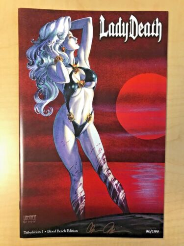 Lady Death Tribulation #1 Blood Beach Variant Cover by Joseph Michael Linsner