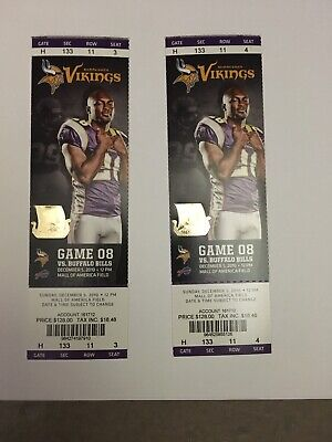 Brett Favre Start #297 Buffalo Bills @ Minnesota Vikings 2010 2 tickets stubs
