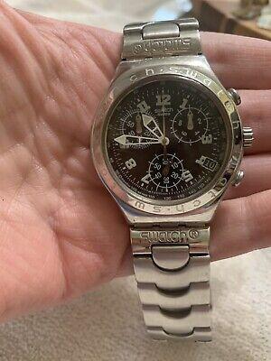 Swatch Irony Chronograph Stainless Steel Quartz Wrist AG1998 Needs Battery