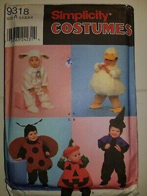 Ente Lady Bug Kürbis Kostüm Nähen Muster 9318 Größe ein Kleinkind Simplicity - Ente Kleinkind Kostüm