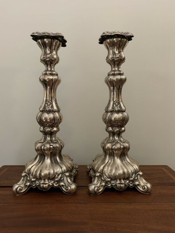 "Circa 1890 Swiss Art Nouveau Baroque Victorian .875 Silver Candlesticks 15.5""x6"""