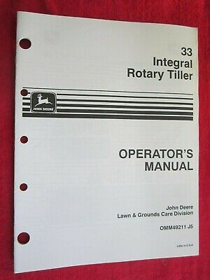 John Deere Lawn Garden Tractor 33 Rotary Tiller Operators Manual Omm49211 J5