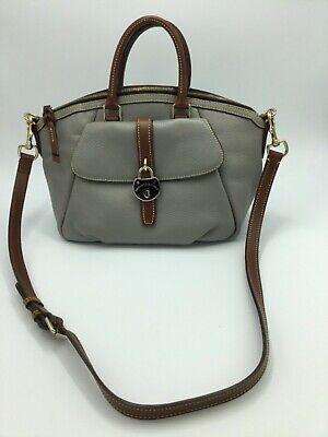 Dooney & Bourke Samba Pebbled Leather Large Gray Satchel Purse Front Pocket EUC Large Front Pocket Satchel Handbag