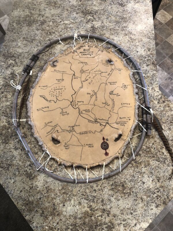 Rocky Mountain Elk Foundation Native American Map On Beaver Pelt John Wilkinson