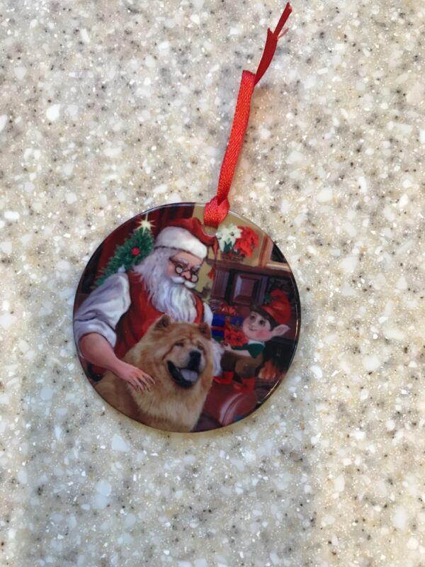 "Chow Chow Christmas Ornament Glazed Porcelain 3"""