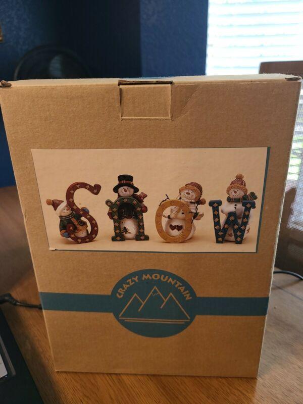 Crazy Mountain Snowmen Figures. SNOW. In Box
