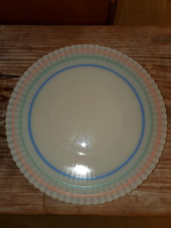 """Macbeth Evans Petalware Cremax Primary Color Bands 10.75"""" Striped Salver Plate"""