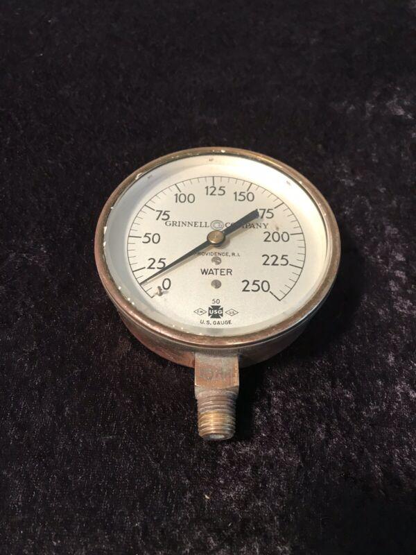 """Vintage Brass Industrial Water Pressure Gauge 4"""" US Gauge Grinnell Company"""