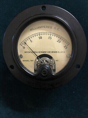 Vintage Weston Milliamperes Dc Meter Gauge 0-25 Model 301
