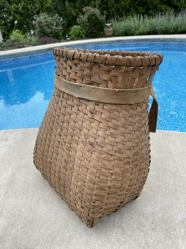 "Vintage Adirondack Rustic Style Pot Belly Oak Splint Trappers Pack Basket 17x20"""