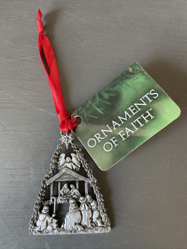 CTA Ornaments of Faith 2016 O Holy Night Manger Pewter Ornament NWT
