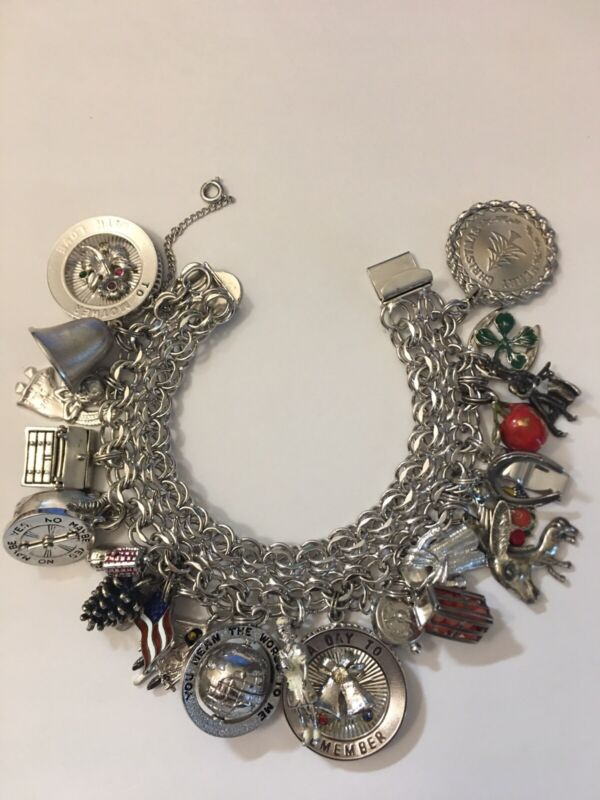 Vintage JB Sterling Silver Double Wide Double link Charm Bracelet 25 Charms 108g