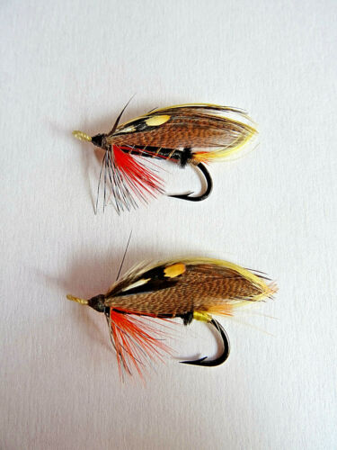 2X VINTAGE GUT EYED HARDY THUNDER & LIGHTNING SALMON FLIES APPROX SIZE 4 AND 5