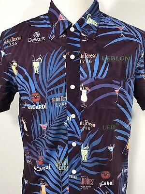 Mens Medium Drink Liquor Hawaiian Shirt S/S Bacardi Rum Martini (Hawaiian Rum Drink)