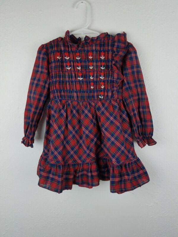 Vintage JOYEUX GAMINS HAPPY KIDS Toddler Girls Plaid Embroidered Dress SZ4  A8