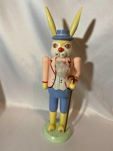 "Vintage Hand-painted EASTER BUNNY NUTCRACKER~Rabbit Decoration 14""~"